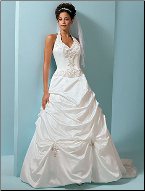 Halter Neckline Satin Pick-up  Ball Gown