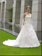 Strapless Organza and Lace Bridal Gown