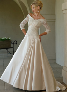 Elegant Satin and Lace Bridal Gown