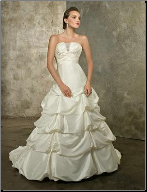 Modern Strapless Satin Ball Gown