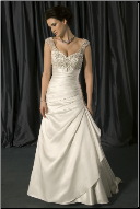 Princess Style Satin and Lace Bridal Gown with Cap Sleeves
