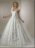 One Shoulder Satin and Organza Wedding Ballgown