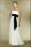 Empire Line Strapless Chiffon Gown