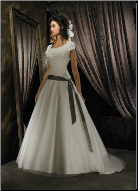 Modest Organza over Satin Wedding Dress