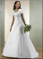 Modest Princess Style Satin Wedding Gown
