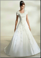 Modest Princess Style Satin Wedding Dress