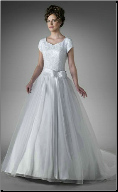 Organza over Satin Modest Ballgown