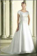 Modest Satin and Organza Bridal Gown