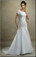 Satin and Lace Drop-Waist Modest Wedding Dress