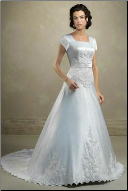 Modest Embroidered Satin Wedding Dress