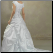 Modest Princess Style Taffeta Bridal Gown showing back of gown and Chapel train