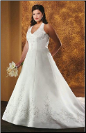 Halter Neckline Embroidered Satin Wedding Gown