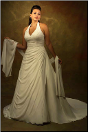Halter Neckline Plus Size Satin and Chiffon Wedding Dress