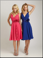 Affordable V Neckline Tea Length Dress