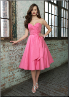 Strapless Tea Length Taffeta Dress
