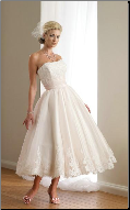 Satin and Organza Tea Length Wedding Dress