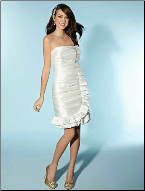 Knee Length Strapless Taffeta Wedding Dress