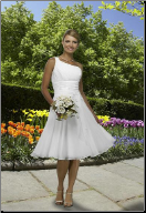 Chiffon Tea Length Wedding Dress