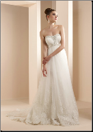 Glamorous Strapless Satin and Organza Gown with Lace