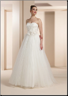 Tulle over Satin Wedding Gown with Strapless Lace Bodice
