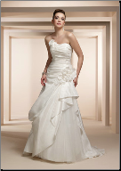 Taffeta and Tulle Strapless Wedding Dress