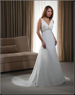 Chiffon and Satin Empire Waist Wedding Dress