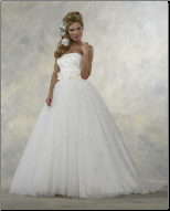 Satin and Tulle Strapless Wedding Ballgown