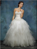 Wedding Gown of Organza Tulle and Lace