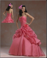 Satin and Organza Quinceanera Gown with Lace
