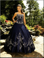Embroidered Satin Quinceanera Gown