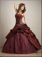 Quinceanera Dress in Taffeta with Lace