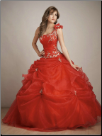 Satin and Organza One-Shoulder Quinceanera Gown