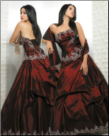 Dramatic Taffeta with Lace Quinceanera Gown