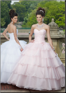 Satin and Organza Quinceanera Gown with Flounces