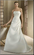 Strapless A-Line Embroidered Satin Wedding Gown