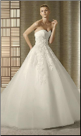 Strapless Satin and Tulle Wedding Gown