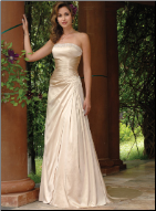 A Line Strapless Taffeta Dress
