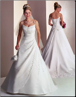 A Line Style Satin Bridal Gown