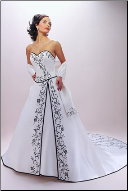 A-Line Embroidered Strapless Wedding Dress