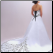 A Line Satin Strapless Wedding Dress - view of train and contrasting lace up back
