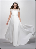 A-Line Gown of Chiffon and Lace