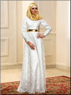A-Line Lace Long Sleeve Muslim Wedding Dress with Gold Hijab