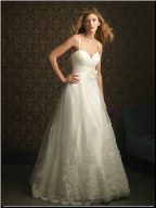 A-Line Satin Gown with Tulle and Lace