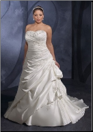 A-Line Strapless Satin Wedding Dress