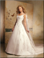 A-Line Style Embroidered Satin Wedding Gown