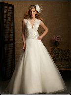 A-Line V-Neckline Satin Wedding Dress