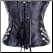 Gothic Steampunk Black Faux Leather Strapless Corset