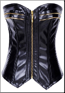Faux Leather Zipper Front Sweetheart Neckline Boned Corset