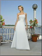 Adorable One-Shoulder Chiffon and Satin Informal Wedding Dress