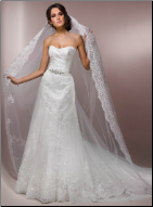 Adorable Wedding Gown of Satin and Lace